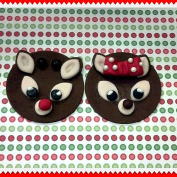 Christmas Reindeers, Boy & Girl Fondant Cupcake Toppers. Set of 12 (1 dozen)
