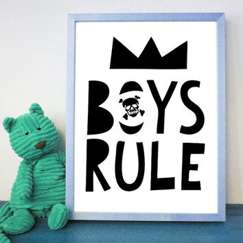 Boy Nursery Decor, Boys Rule, Boy Baby shower, Boy Nursery Prints, Boy Nursery Art, Printables, Wall Decor, Art, Instant Download