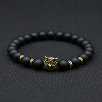 8mm Silver Plated Animal Owl Head Bracelet With Natural Black Lava Rock Stone