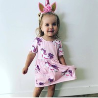 Baby Girls Dresses Clothes 2018 New Fashion Kids Cotton Baby Kids Big Pockets Print Cartoon Unicorn Girl Dresses