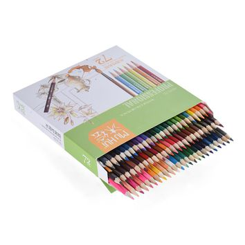 72 Color Premium Pre-Sharpened Water-soluble Water Colored Pencils with Brush for Artist Art Drawing Sketching Writing Artwork