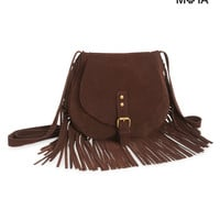 Aeropostale  Womens Fringed Crossbody Bag - Brown