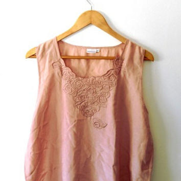 Silk/falling roses/floral/embroidered/dusky/metallic/pink/vintage blouse top