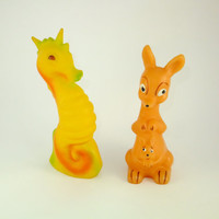 Seahorse and Kangaroo Colorful Orange Yellow Rubber Toy, a Soviet Vintage, 1970's, Soviet Toy, Russian Toy