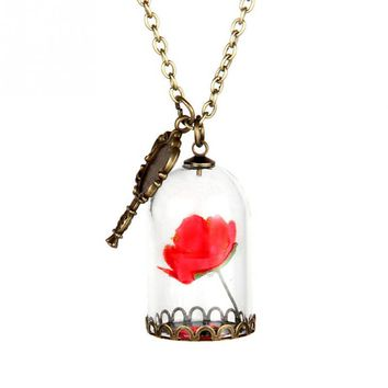 Beauty and the Beast Necklace Enchanted Rose in Terrarium Pendant Plated Valentines Day Fairy Tale Victorian Jewelry