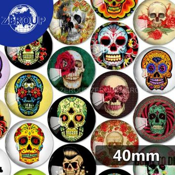 40mm round glass cabochon Skull pictures mixed pattern fit cameo base setting for flat back jewelry 5pcs