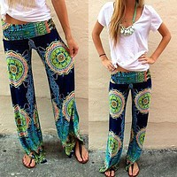 New Fashion 2016 Loose  Wide Leg Pants Smooth Feel Floral  Print  Trousers Exotic Summer  Pants