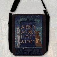 Art Nouveau , Doctor quote, TARDIS and the Weeping Angel Big shoulder bag