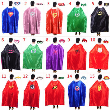 15 styles L140*90cm Adult Superhero capes Satin fabric cape with mask set Spiderman Batman Ironman Thor Halloween Party costumes
