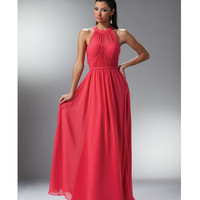 Coral Chiffon Grecian Evening Gown 2015 Prom Dresses