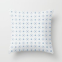 Acrylic Blue Square Dots Throw Pillow by Doucette Designs