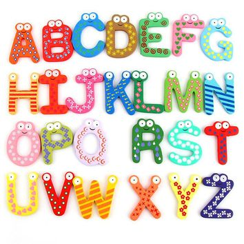 wooden letters 26 pcs English Letters Unisex Kid Educational Toy Alphabet Cute Magnet Toy Gift For Children baby learning toys