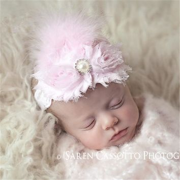 New Arrival Newborn girls Peacock Feathers Pearl Bow Headband Little Girls headdress photo props In Stock 6 colors 1pc HB073