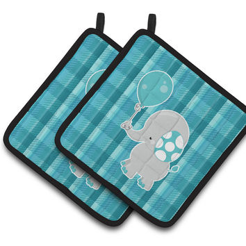 Elephant with Balloon Pair of Pot Holders BB6835PTHD