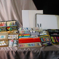 HUGE LOT Vintage ART SUPPLIES Paints Pastels Paper Pencils GOOD BRANDS! Look!