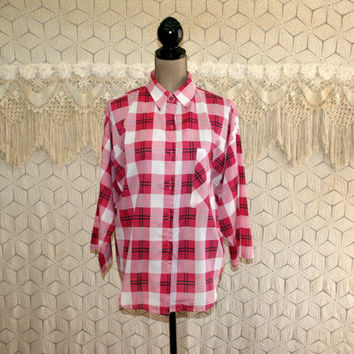 90s Vintage Plus Size Blouse Pink Plaid Shirt XL Tops Button Up Spring Summer Big Beautiful Women Plus Size Clothing Womens Vintage Clothing