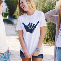 Adult Shaka Vibes T-Shirt in White