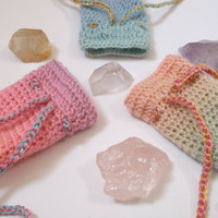 Pastel Pink Bag, Amulet Bag, Medicine Pouch, Pastel Goth, Small Crochet Purse, Coin Pouch, Pastel Pink Purple, Magical Girl Gear, Stash Sack