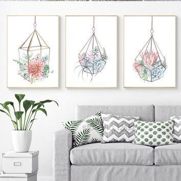 Cactus Succulent Plants Nordic Poster Flowers Cuadros Decoracion Wall Pictures For Living Room Wall Art Canvas Painting Unframed