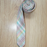 "Vintage 60s Mens Super Skinny Rainbow Plaid Necktie 1 1/2"" Wide 54"" Long Tie"