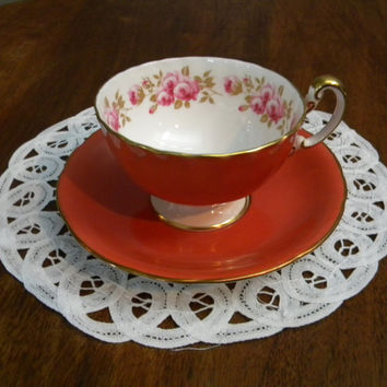 Beautiful Aynsley Burnt Orange Oban Teacup & Saucer with Pink Rose Band, Gold Trim and Handle, Fluted Edging 1939+, Made in England-Mint