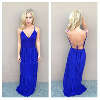 Royal Blue Crochet Maxi Dress