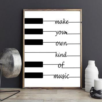 """Nursery art / decor - Canvas painting / Poster print - Free Shipping - Quote """"Make Your Own Kind Of Music"""""""