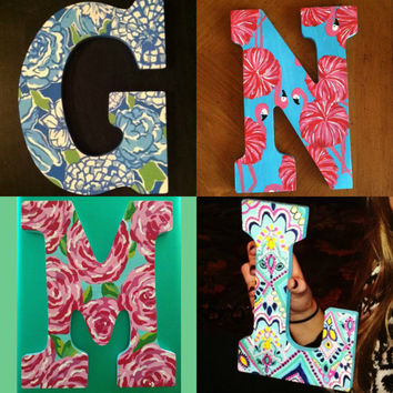 Custom Hand-Painted Lilly Pulitzer Monogram Wooden Letter (Painting available in any letter/print combination)