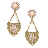Gold Tone Art Deco Fashion Earrings