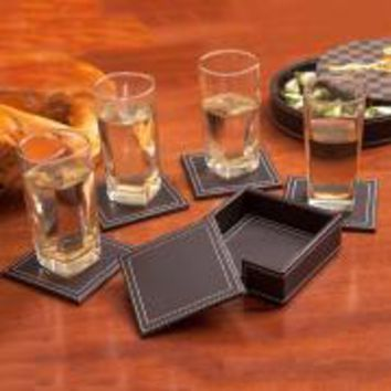 6pcs/set Double-deck Leather Coasters Set Placemat of Cup with Coaster Holder PU Leateher Coffee Tea Cup Pad Cup Mat