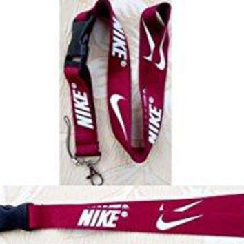 Nike Lanyard Keychain Holder Maroon Red with White