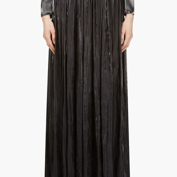 Iris Van Herpen Black Pleated Maxi Liquid Skirt