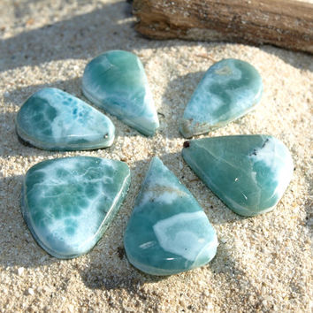 6 Larimar grooved cabochon wire wrapping Ocean Blues Teardrops DIY jewelry pendants necklace earings bracelet wholesale 23g 115 ct