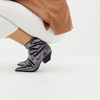 ASOS DESIGN Annie silver sequin western boots at asos.com