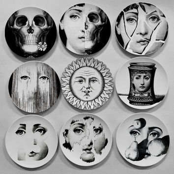 fashion home decorative piero  Fornasetti hanging plates/dish Verne Sethi living