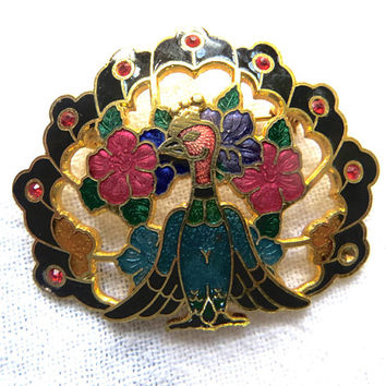 Vintage Peacock Brooch, Enamel Peacock Pin, Vintage Bird Jewelry