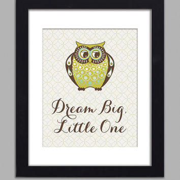 Owl Art Print Dream Big Little One Poster Kids Room Nursery Wall Art 11x14 Boy Nursery Boys Room Wall Decor Premium Print