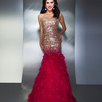 Mac Duggal Prom 2013- Fuchsia And Gold Mermaid Gown With Feathers - Unique Vintage - Cocktail, Pinup, Holiday & Prom Dresses.