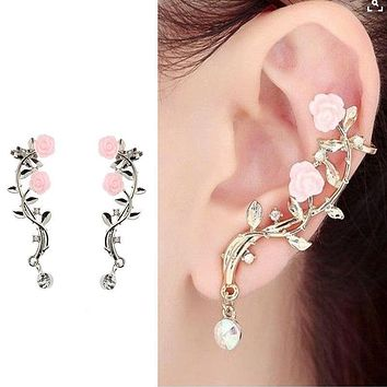 2Pcs Elegant Flower Shape Rhinestone Clip Earrings