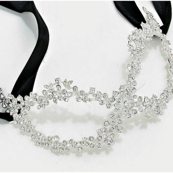 Lyla Flower Cluster Silver Masquerade Mask | Crystal