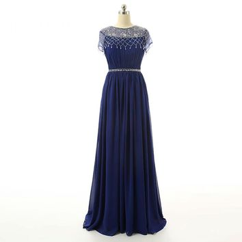 Beauty Chiffon Beads Cap Sleeves Scoop Neck A Line Short Sleeves Sash Long Evening Dress Floor Length  Evening Gowns
