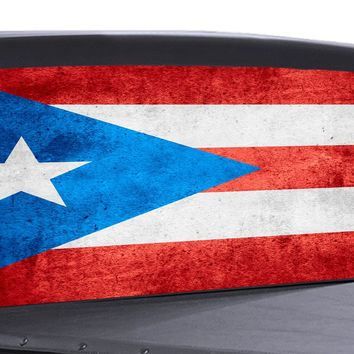 Puerto Rico Flag Distressed Universal Truck Rear Window 50/50 Perforated Vinyl Decal