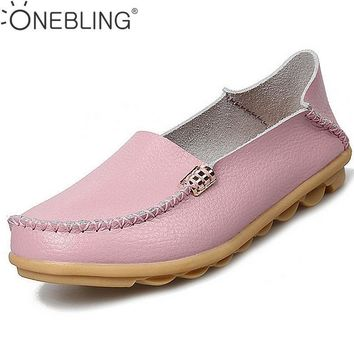 Summer Candy Colors Genuine Leather Women Casual Shoes 2017 Fashion Breathable Slip-on