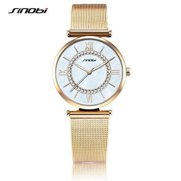 SINOBI Fashion Women's Diamond Wrist Watches Sliver Watchband Top Luxury Brand Girl Crystal Quartz Clock Ladies Wristwatch 2017