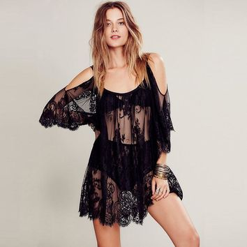 Women Summer Beach Dress Lace Crochet Floral Embroidery Beachwear Spaghetti Strap Off Shoulder Hippie Boho Dress Vestidos 40*F/