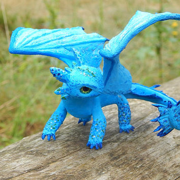 Toothless Night Fury, toothless dragon sculpture figurine handmade of clay, how to train your dragon, blue dragon figure toothlees httyd2