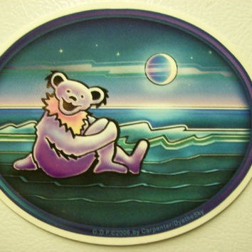 Purple Grateful Dead Bear Sticker Hippie Decal