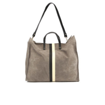 Clare V. Women's Supreme Simple Tote Bag - Dark Grey Suede With Black/White Stripes