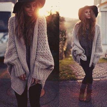ONETOW batwing knitted long cardigan sweater coat women Autumn winter