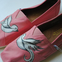 Hand Painted Toms in White Dove Design READY by PaperHeartsCouncil